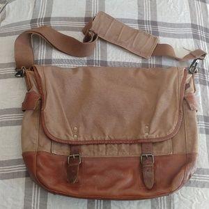 Banana Republic canvas leather messenger bag